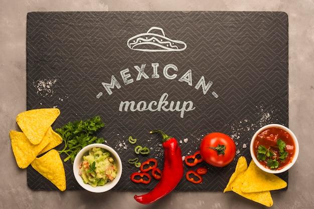 Mexicaans restaurant placemat mockup met ingrediënten Premium Psd