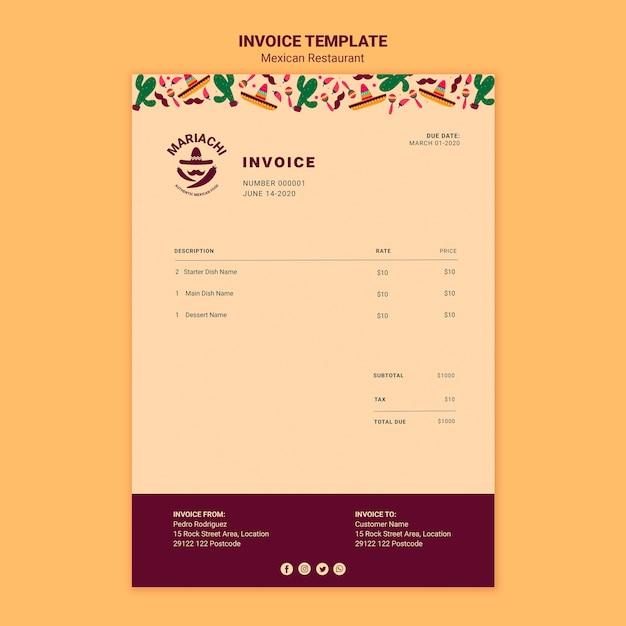 Mexicaanse traditionele gerechten restaurant factuursjabloon Gratis Psd