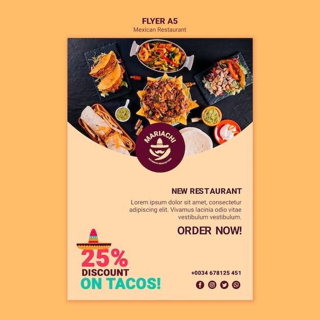 Mexicaanse traditionele gerechten restaurant flyer-sjabloon Gratis Psd