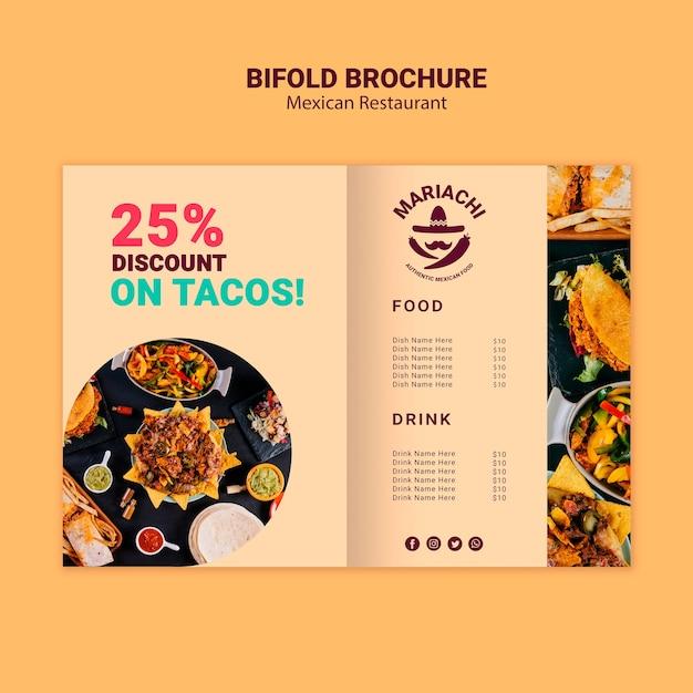 Mexicaanse traditionele gerechten restaurant tweevoudige brochure Gratis Psd
