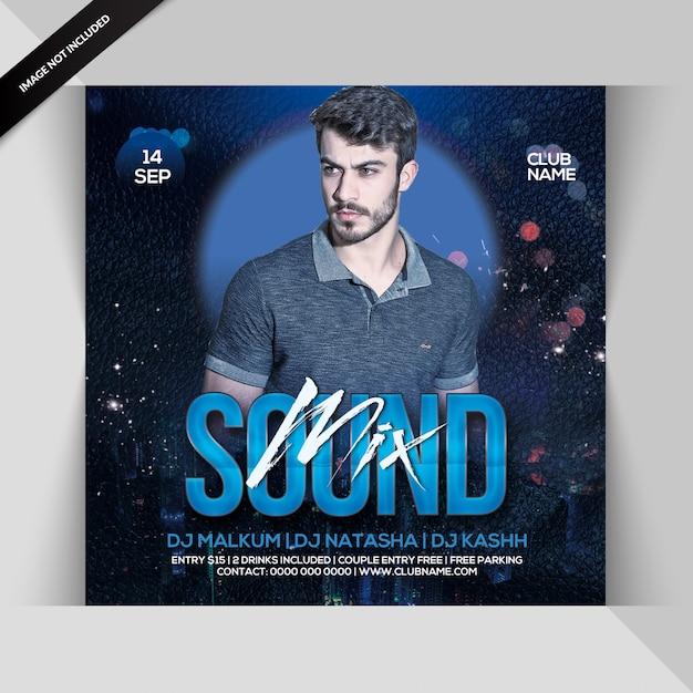 Mezcla flyer fiesta de sonido PSD Premium