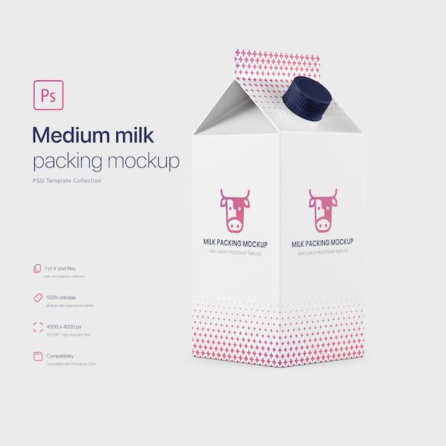 Middelgrote melkverpakking mockup Gratis Psd