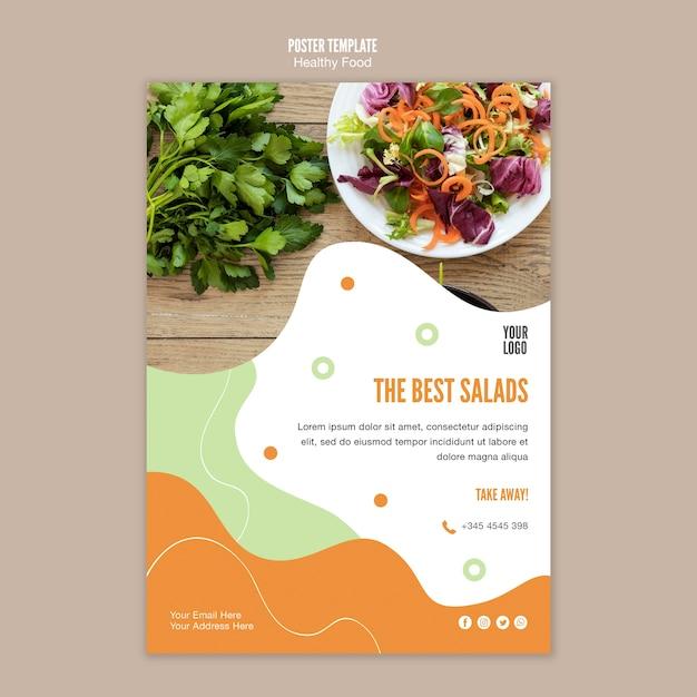 Miglior modello di poster di insalata e prezzemolo Psd Gratuite