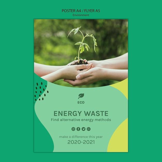 Milieu concept poster sjabloon Gratis Psd