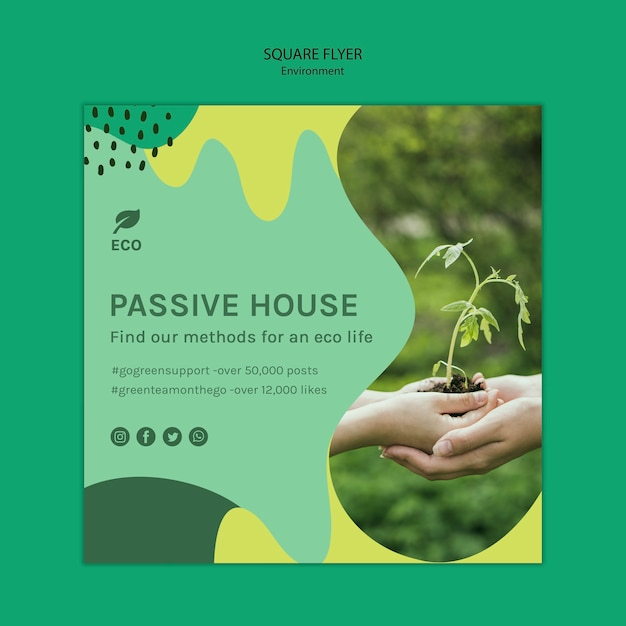 Milieu concept vierkante sjabloon folder Gratis Psd