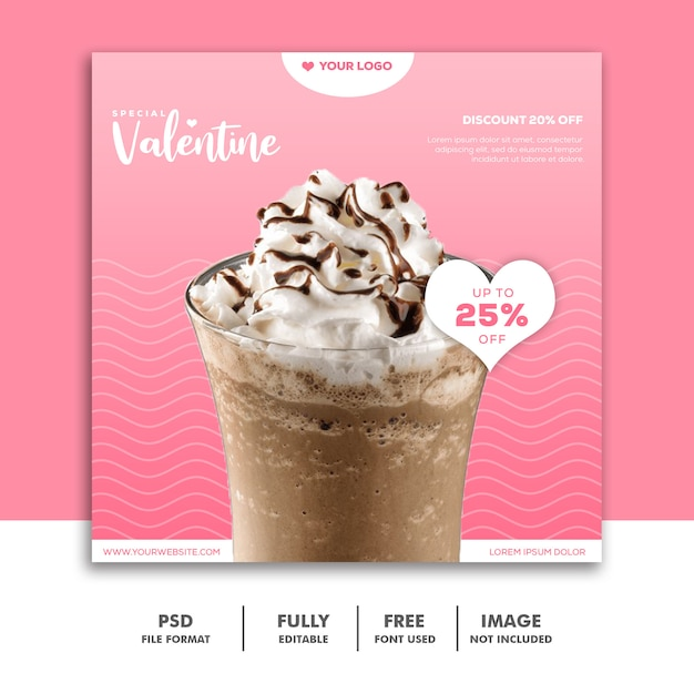 Milkshake chocolate instagram post valentine PSD Premium