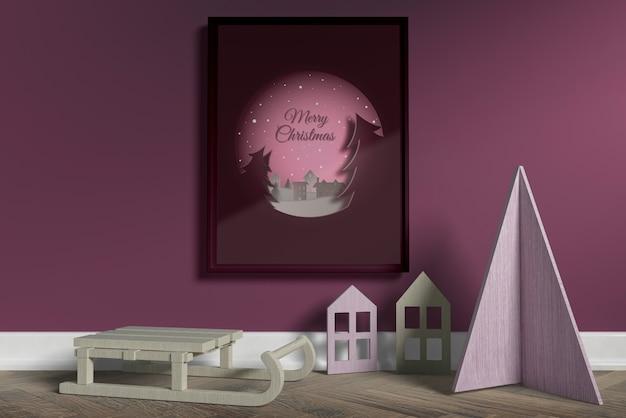 Miniaturen van huis op vloer mock-up Gratis Psd