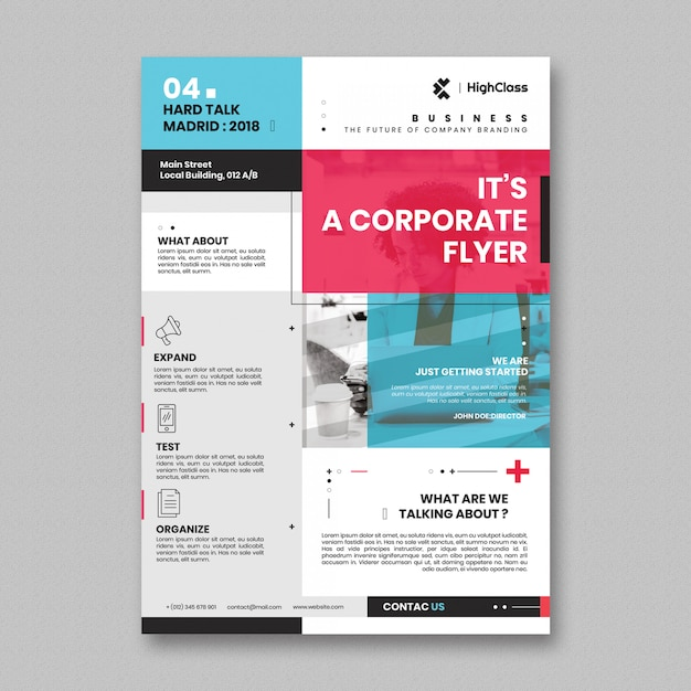 Minimaal corporate flyer-sjabloon Gratis Psd