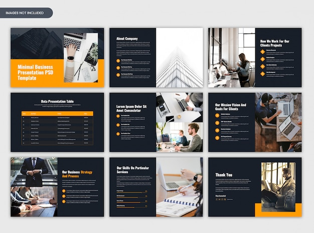 Minimaal projectoverzicht en donkere presentaties voor bedrijfspresentaties Premium Psd