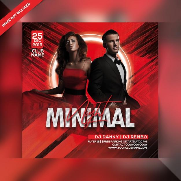 Minimal night party flyer PSD Premium