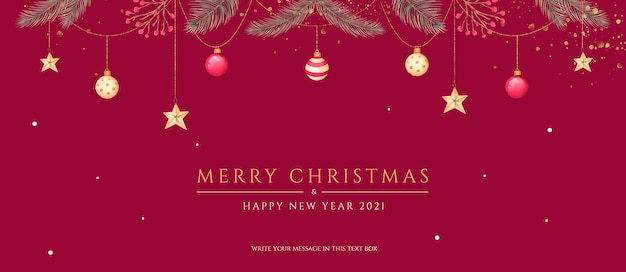 Minimale kerstbanner met prachtige ornamenten en natuur Gratis Psd