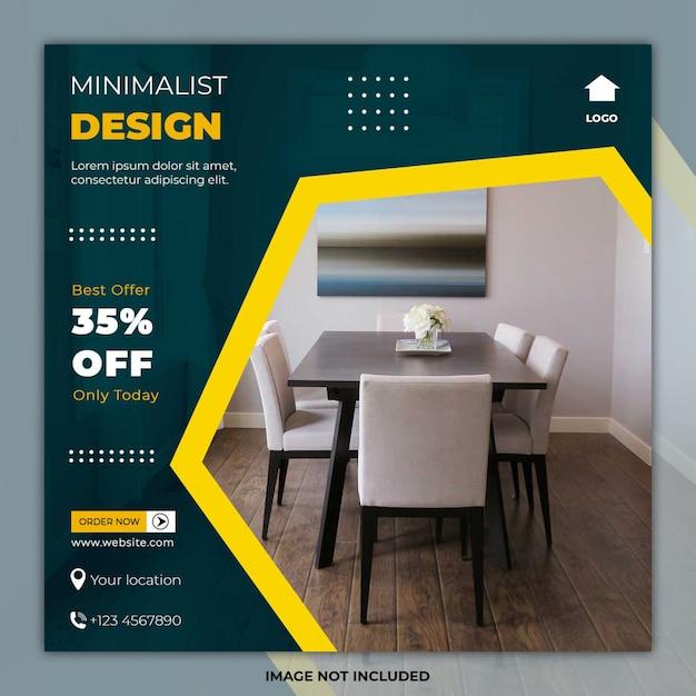 Minimale meubelsjabloon social media post Premium Psd