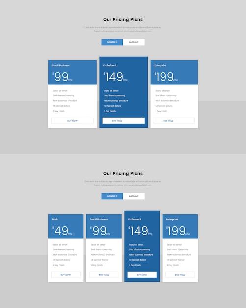 Minimale prijstabel voor web Premium Psd