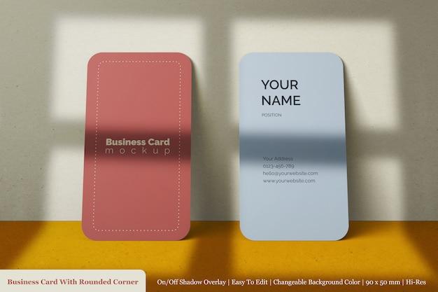 Minimalistisch custom realistisch dubbel visitekaartje mockup met schaduw overlay Premium Psd