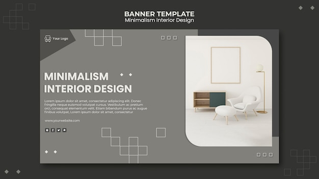 Minimalistisch interieur ontwerpsjabloon voor spandoek Premium Psd