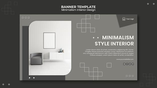 Minimalistisch interieur ontwerpsjabloon voor spandoek Gratis Psd