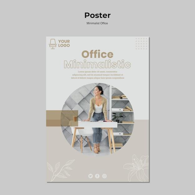 Minimalistisch kantoor posterontwerp Gratis Psd