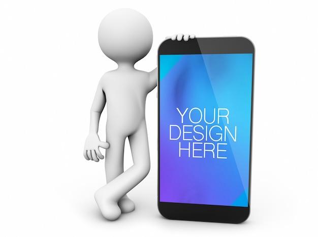 Minimalistisch personage dat smartphone-mockup geïsoleerd toont Premium Psd