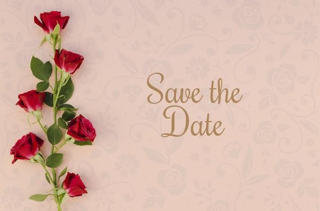 Minimalistisch sparen de datum met rozen Gratis Psd