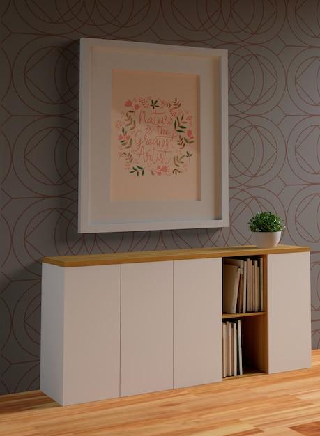 Minimalistisch wit montuurmodel aan de muur Gratis Psd