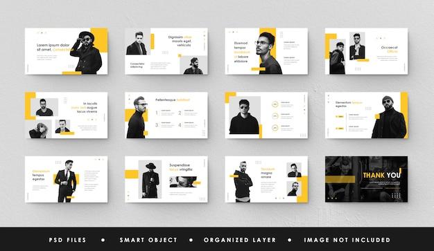 Minimalistische geel witte zakelijke presentatie dia power point bestemmingspagina keynote Premium Psd