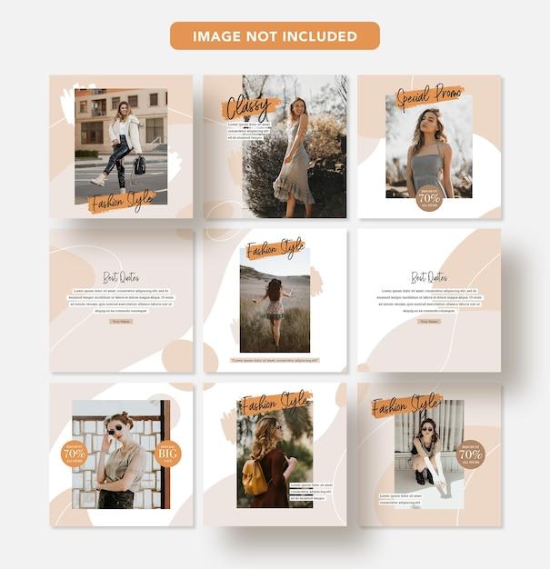 Minimalistische mode korting sociale media banner ontwerp instagram post sjabloon Premium Psd