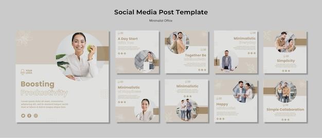 Minimalistische post voor sociale media op kantoor Premium Psd