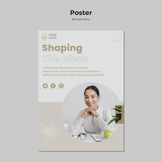 Minimalistische poster sjabloon voor kantoor Gratis Psd