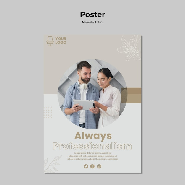 Minimalistische posterstijl voor kantoor Gratis Psd