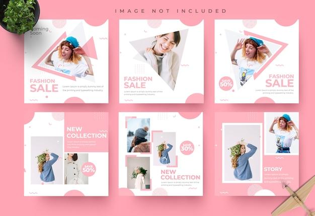 Minimalistische roze sociale media instagram feed post en verhalen mode verkoop sjabloon voor spandoek Premium Psd
