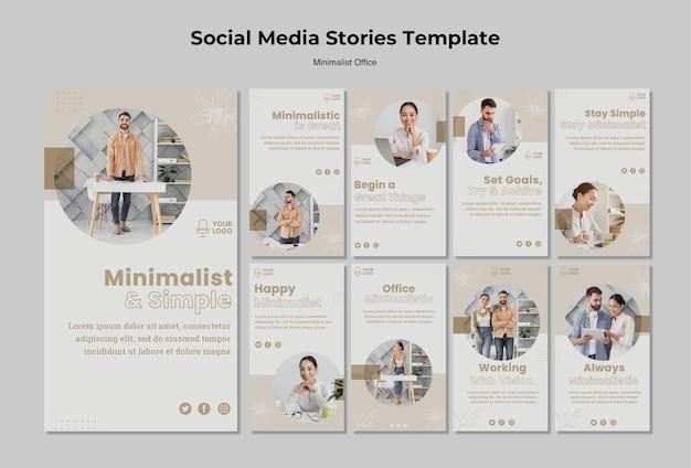 Minimalistische social media-verhalen op kantoor Gratis Psd