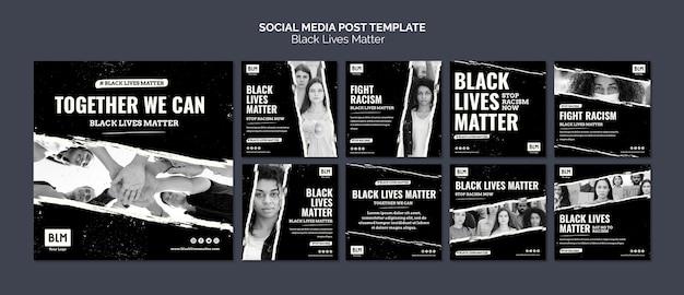 Minimalistische zwarte levens doen ertoe op posts op sociale media Gratis Psd