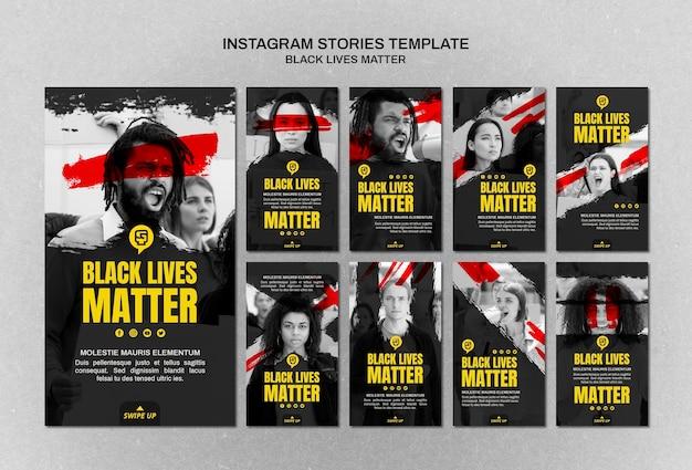 Minimalistische zwarte levens zijn van belang op instagram-verhalen met foto Gratis Psd