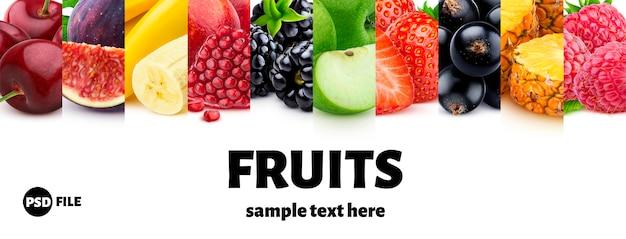 Mix voedselingrediënten, fruit en bessencollectie Premium Psd