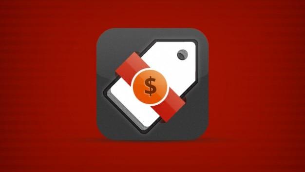 Mobile app icoon tag met $ lint Gratis Psd