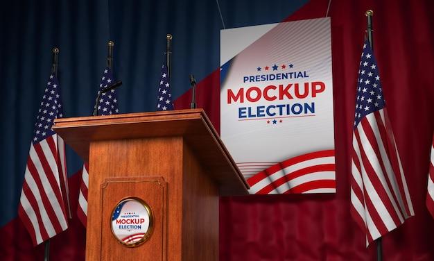 Mock-up amerikaans verkiezingspodium Gratis Psd