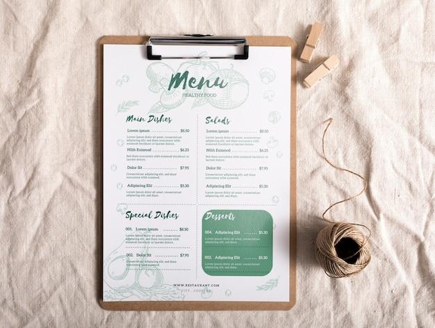 Mock-up concept van het voedselmenu Premium Psd