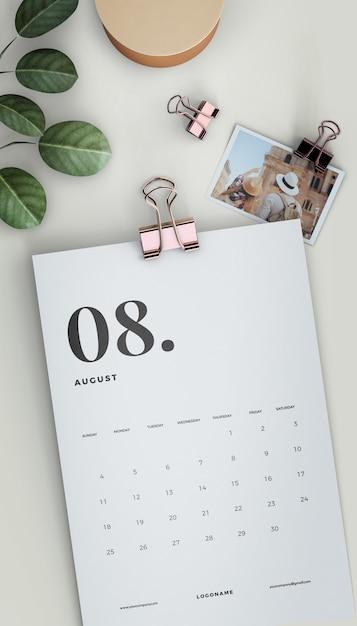Mock-up del calendario ritagliato piatto laico Psd Gratuite