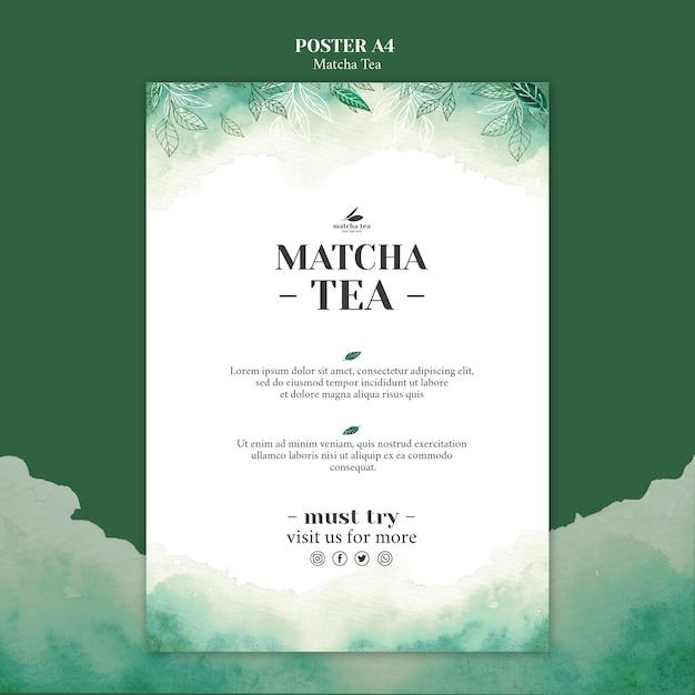 Mock-up di concept poster di tè matcha Psd Gratuite
