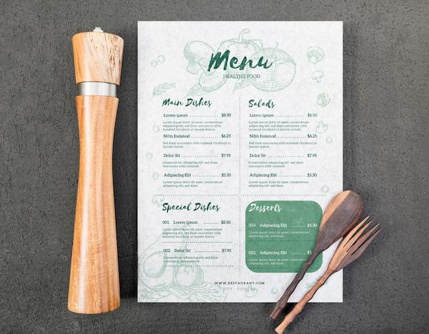 Mock-up di concetto di menu di cibo Psd Gratuite