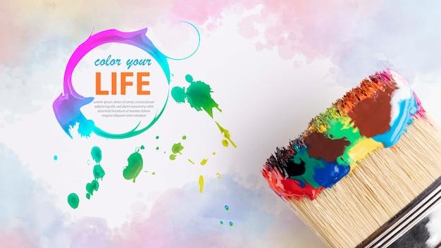 Mock-up di concetto di vernice colorata Psd Gratuite