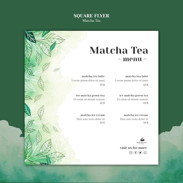 Mock-up di concetto di volantino quadrato tè matcha Psd Gratuite