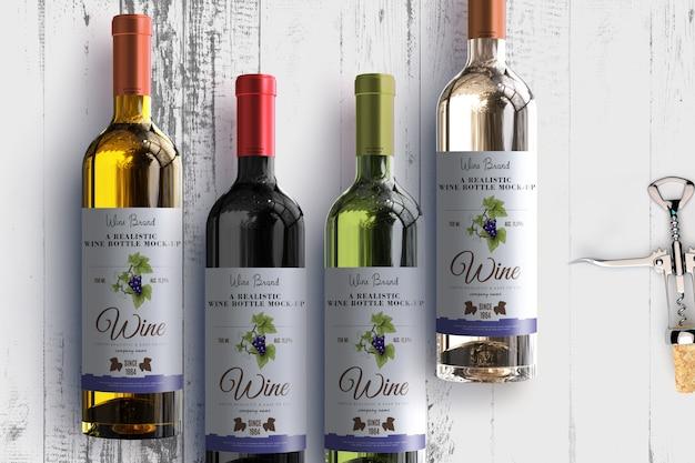 Mock-up di etichetta di bottiglia di vino realistico Psd Premium