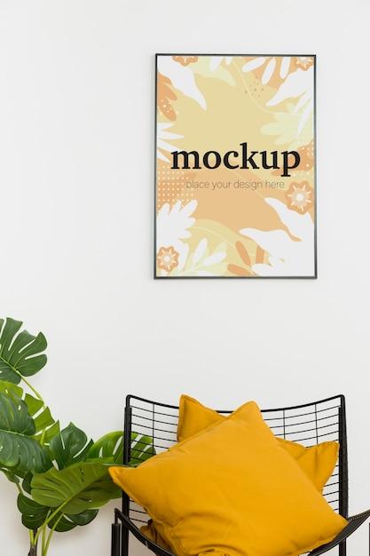 Mock-up frame boven stoel Gratis Psd