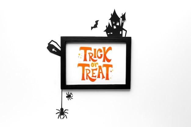 Mock-up frame met trick or treat-bericht Gratis Psd