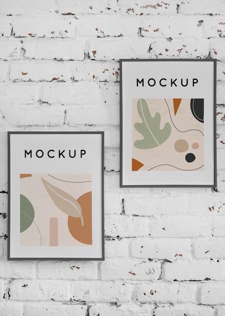 Mock-up frame op de muur Gratis Psd