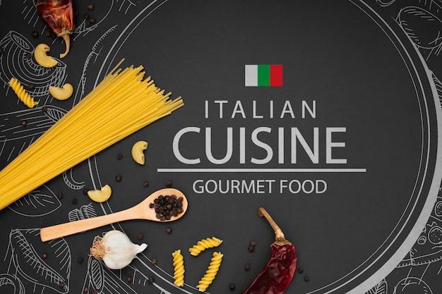 Mock-up ingrediënten voor italiaans eten Gratis Psd