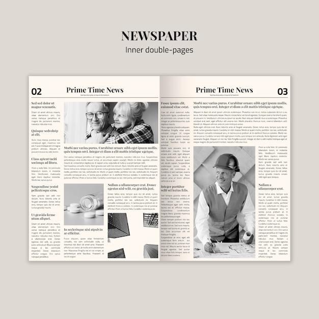 Mock-up interno di giornali a doppia pagina Psd Gratuite
