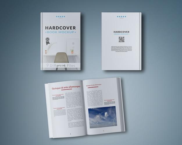 Mock up de libro abierto y dos cubiertas PSD gratuito