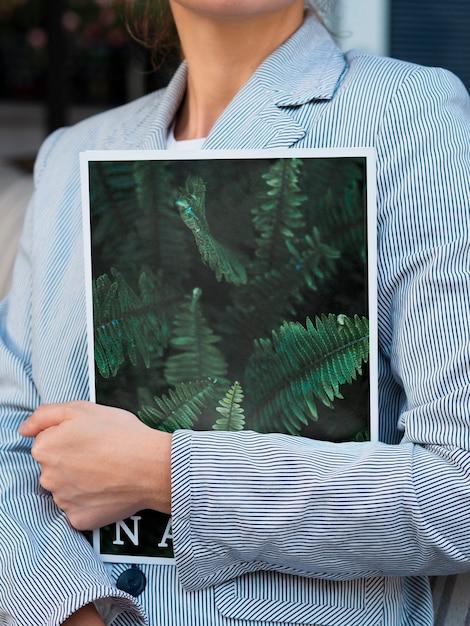 Mock-up met natuur tijdschrift concept Gratis Psd